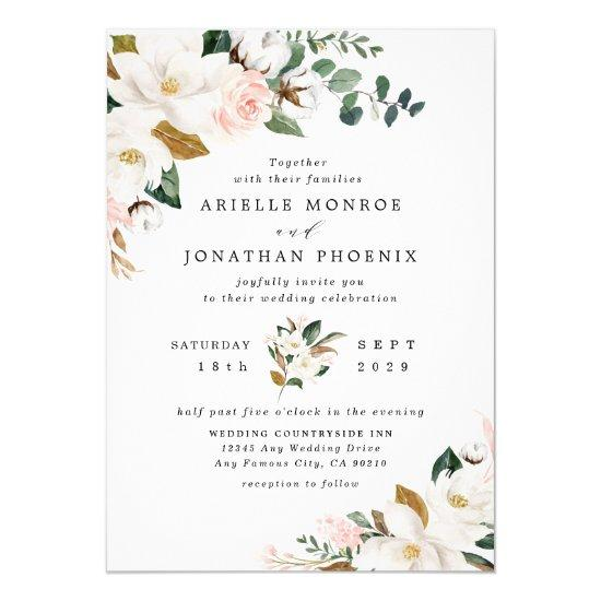 Blush Pink Gold and White Magnolia Floral Wedding Invitations