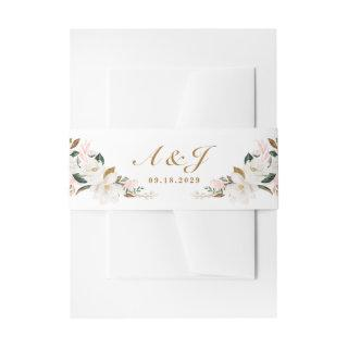 Blush Pink Gold and White Magnolia Floral Wedding Invitations Belly Band