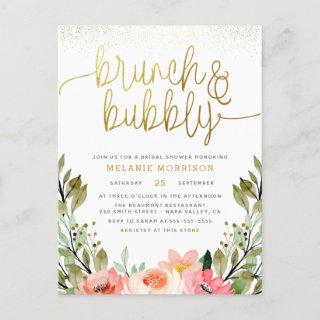 Blush Pink & Gold Brunch & Bubbly Bridal Shower Invitation Postcard