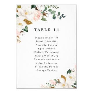 Blush Pink Gold Floral Wedding Seating Chart Cards