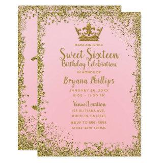 Blush Pink & Gold Glitter Crown Sweet 16 Party Invitation