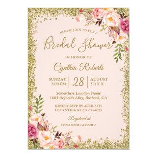 Blush Pink Gold Glitters Floral Bridal Shower Invitations