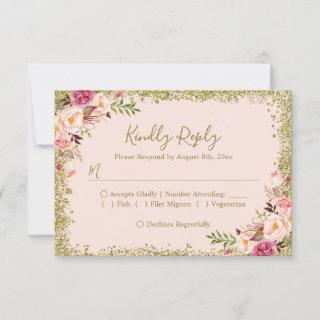 Blush Pink Gold Glitters Floral RSVP Reply