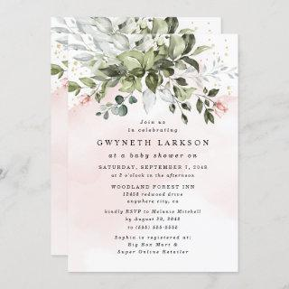 Blush Pink Gold Greenery Dusty Blue Baby Shower Invitations