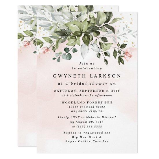 Blush Pink Gold Greenery Dusty Blue Bridal Shower Invitation