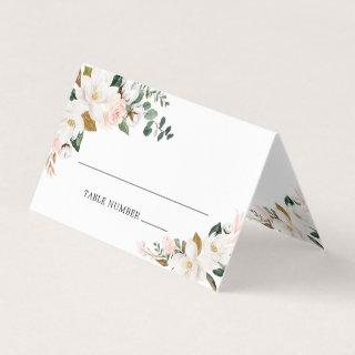Blush Pink Gold White Floral Wedding Place Cards