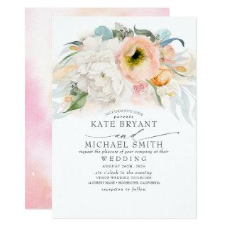 Blush Pink Peach and White Floral Elegant Wedding Invitations