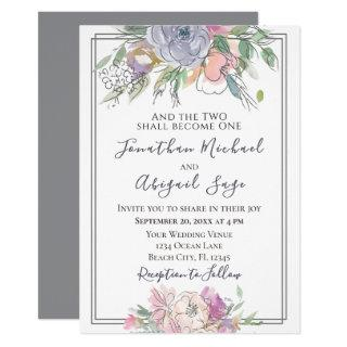 Blush Pink Peach Purple Floral Grey Frame Wedding Invitations
