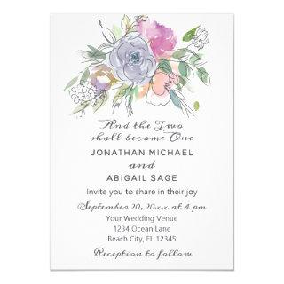 Blush Pink Peach Purple Floral Watercolor Wedding Invitation