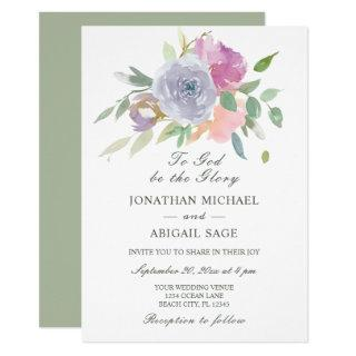 Blush Pink Purple Simple Floral Christian Wedding Invitation