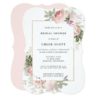 Blush Pink Rose Floral Bridal Shower Invitations