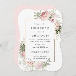 Blush Pink Rose Floral Bridal Shower Invitation