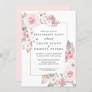 Blush Pink Rose Floral Engagement Party Invitations