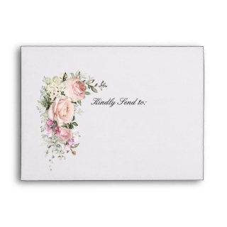 Blush Pink Rose Floral Wedding Envelope