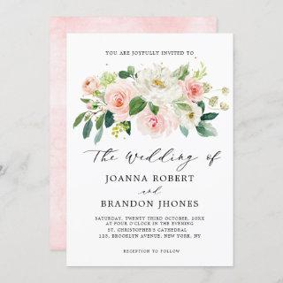 Blush Pink Rose Florals Modern Botanical Wedding Invitations