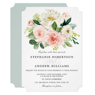 Blush Pink Rose Florals Modern Botanical Wedding Invitation