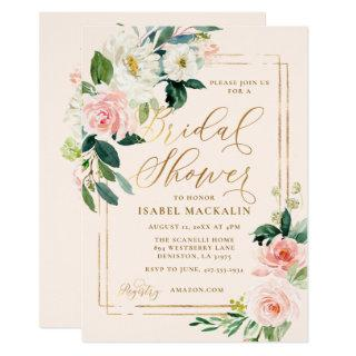 Blush Pink Watercolor Floral Rustic Bridal Shower Invitations