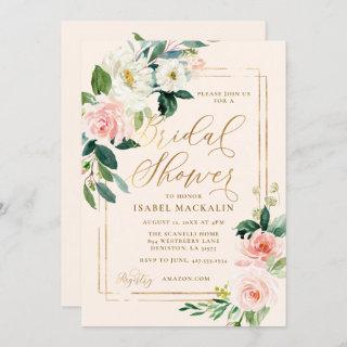 Blush Pink Watercolor Floral Rustic Bridal Shower Invitation
