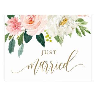 Blush Pink Watercolor Flowers Gold Just Married Postcard