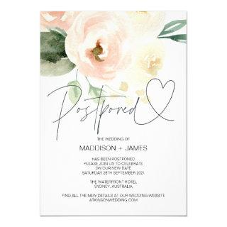 Blush Pink Wedding Postponed Change the Date Invitations