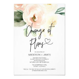 Blush Pink Wedding Postponed Notes Change of Plans Invitations