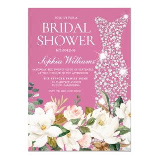 Blush Pink & White Wedding Dress Bridal Shower Invitations