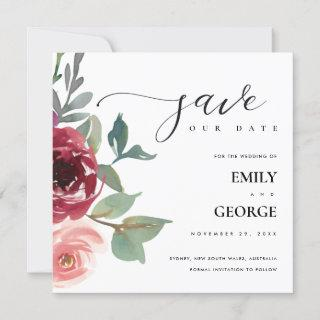 BLUSH RED MARSALA ROSE FLORAL SAVE THE DATE CARD