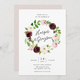 Blush Romance Wreath Wedding Invitations