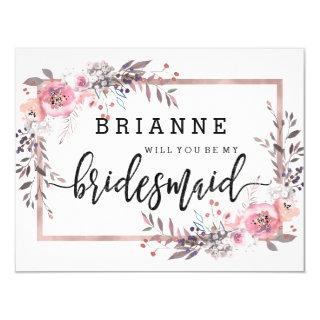 Blush & Rose Gold Framed Will You Be My Bridesmaid Invitations