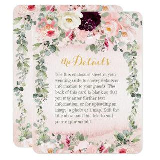 Blush Rustic Garden Wedding Details Enclosure Card