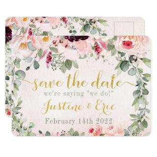 Blush Rustic Garden Wedding Save The Date Postcard