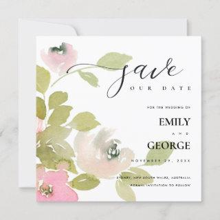BLUSH SOFT PASTEL ROSE FLORAL SAVE THE DATE CARD