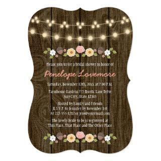 Blush String of Lights Fall Rustic Bridal Shower Invitations