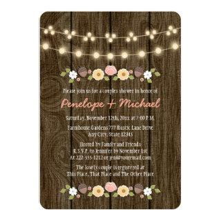 Blush String of Lights Fall Rustic Couples Shower Invitation