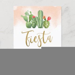 Blush Watercolor & Cactus Fiesta Bridal Shower Invitations Postcard