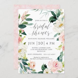 Blush Watercolor Floral Bridal Shower Invitation
