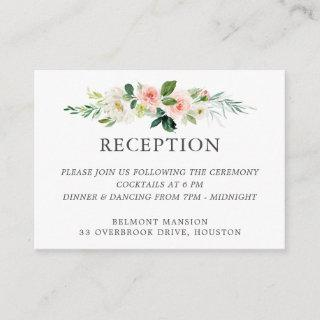 Blush Watercolor Floral Wedding Reception Enclosure Card
