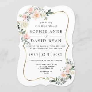 Blush White Flowers Gold All In One Wedding Invitations