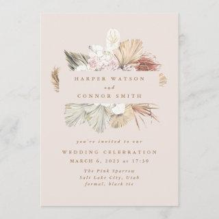 Blush Wreath Pampas Grass Floral Jungle Wedding Invitations