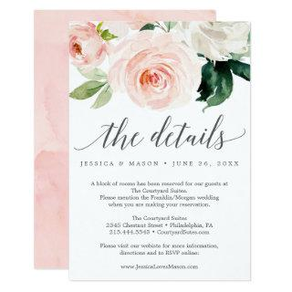 Blushing Blooms Wedding Details Card