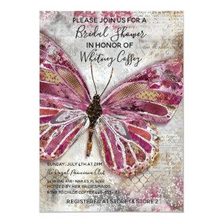 Blushing Butterfly Bridal Shower Invitations