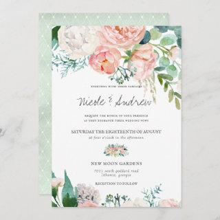 Blushing Summer | Watercolor Floral Wedding Invitations