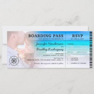 Boarding Pass Beach Photo RSVP & Wedding Invitation