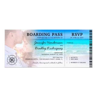 Boarding Pass Beach Photo RSVP & Wedding Invitations