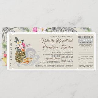 Boarding Pass | Beach Pineapple | Wedding Ticket Invitation