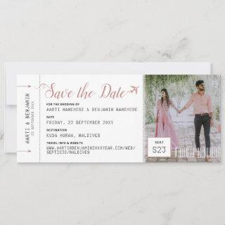 Boarding Pass Destination Photo Save the Date