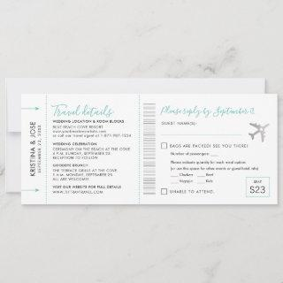 Boarding Pass Destination Ticket Cut-Off RSVP Card