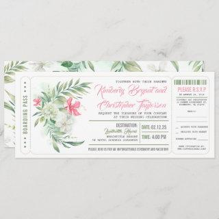 Boarding Pass | Floral Beach | Wedding Ticket Invitations