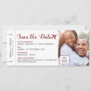 Boarding Pass Photo Red Airplane Logo Save Date