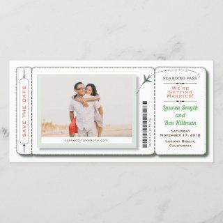 Boarding Pass Photo Save the Date Green
